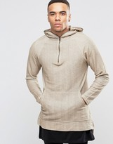 Pull&Bear Longline Hooded Sweatshirt In Beige
