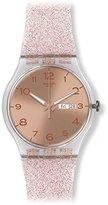 Swatch Unisex SUOK703 Pink Glistar Watch with Sparkling Band