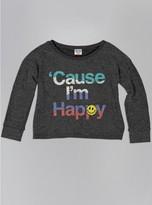 Junk Food Clothing Kids Girls Cause I'm Happy Sweater-char-m