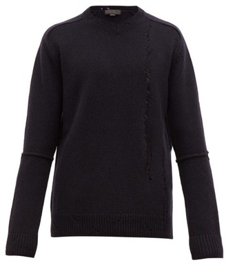 Stella McCartney Distressed Wool Sweater - Mens - Black Navy