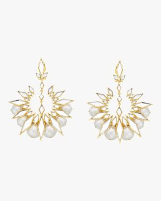 Isharya Demi Goddess Rhombus Mirror and Pearl Chandbali Earrings
