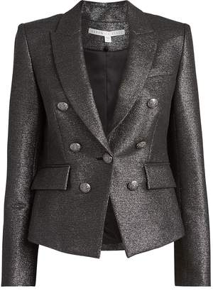Veronica Beard Diego Double-Breasted Lurex Dickey Blazer