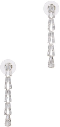 Fallon Draped Baguette Silver-tone Embellished Drop Earrings