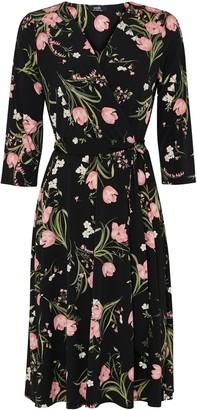 Wallis Black Floral Print Jersey Wrap Dress