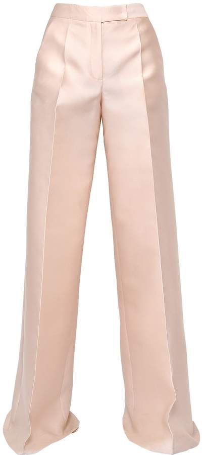Antonio Berardi Scuba & Silk Wide Leg Pants