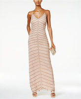 Adrianna Papell Chevron Beaded Open-Back Column Gown