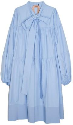 No.21 Long Sleeve Layer Dress in Azzurro
