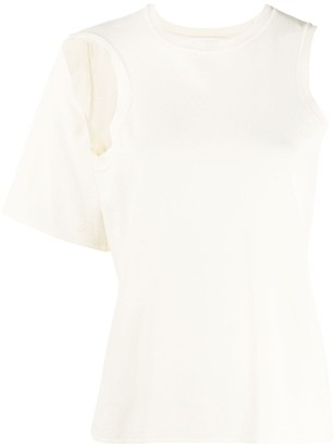 Low Classic Cut-Out Asymmetric Knitted Top