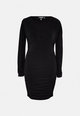 Missguided Plus Size Black Slinky Plunge Ruched Midi Dress
