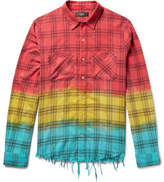 Amiri Distressed Dip-Dyed Checked Cotton-Flannel Shirt