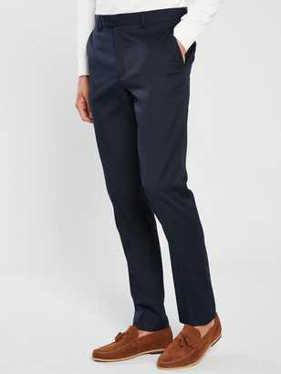 River Island Edward Texture Skinny Navy Trousers