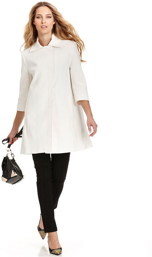 Tahari Coat, Three-Quarter-Sleeve Textured Trapeze