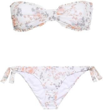 Maje Tamille Ruffle-trimmed Floral-print Cotton-mousseline Bandeau Bikini