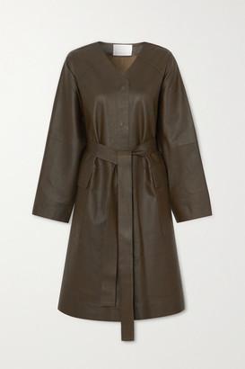 REMAIN Birger Christensen Savona Belted Leather Coat - Army green