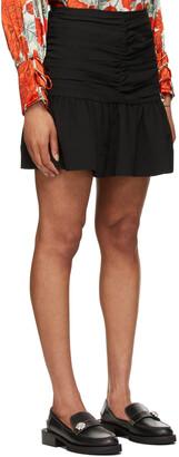 Ganni Black Heavy Crepe Miniskirt