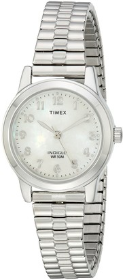 Timex Women's T2M826 Essex Avenue Silver-Tone Stainless Steel Expansion Band Watch