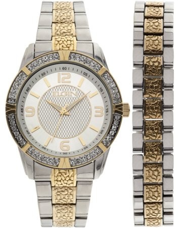 Elgin Men's Two-Tone Silver Dial Watch and Bracelet Set