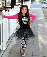 Beary Basics Hot Pink & Black Glitter Skull Tee & Skirt - Toddler & Girls