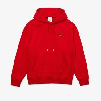 Lacoste Unisex LIVE Loose Fit Hooded Embroidered Fleece Sweatshirt