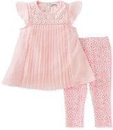 Calvin Klein 2-Pc. Pleated Chiffon Tunic & Capri Leggings Set, Baby Girls (0-24 Months)