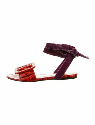 ATTICO Embossed Leather Sandals Purple