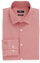 BOSS Men's Slim Fit Easy Iron Houndstooth Dress Shirt