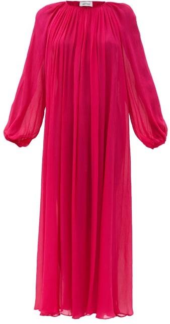 Matteau Balloon-sleeve Silk-plisse Maxi Dress - Fuchsia