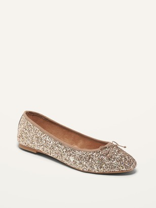 Old Navy Glitter-Covered Almond Toe Ballet Flats for Women