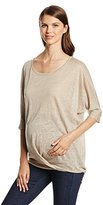 Ripe Maternity Women's 3/4 Sleeve Fold Front Top