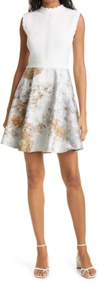 Ted Baker Vanilla Jacquard Sleeveless Dress