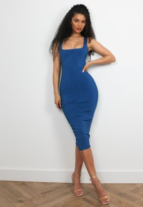 Missguided Blue Bandage Scoop Front Midi Dress
