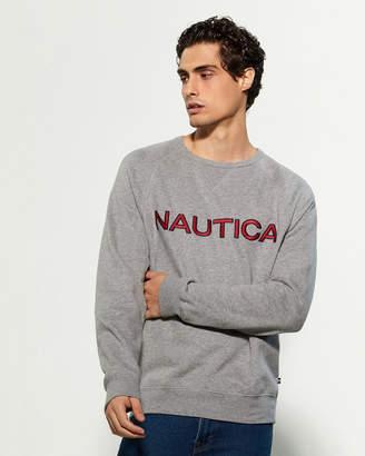 Nautica Long Sleeve Crew Neck Graphic Fleece Top
