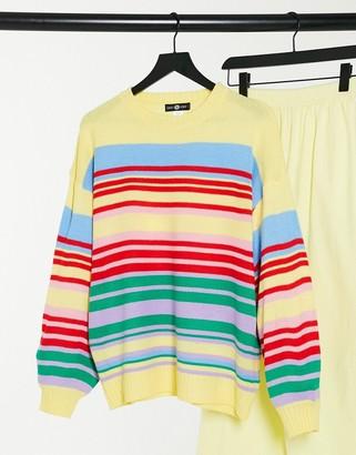 Daisy Street relaxed jumper in rainbow knit stripe