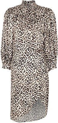 Alice + Olivia Jerilyn leopard-print jacquard dress