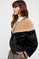 Free People Mixed Faux Fur Bomber