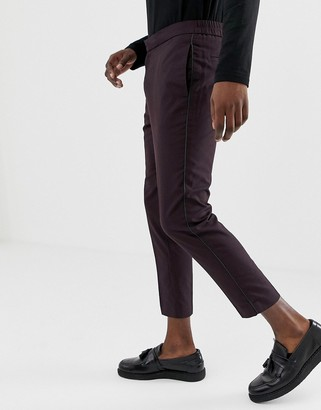 New Look smart trousers with pipping detail in burgundy