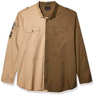 Sean John Men's Long Sleeve Blocked Twill Shirt