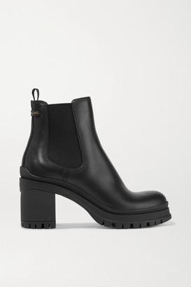 Prada 55 Leather Chelsea Boots - Black