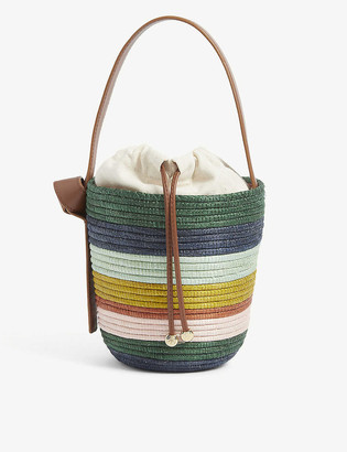 Cesta Collective Lunchpail striped raffia and leather bucket bag