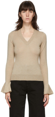 J.W.Anderson Beige Flared Cuff V-Neck Sweater