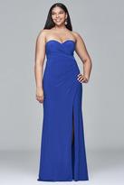 Faviana 9413 Long sweetheart neck dress with high skirt slit