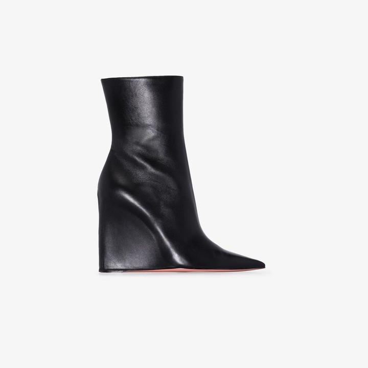 Amina Muaddi Black Pernille 95 leather wedge boots