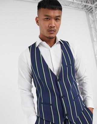 Lockstock Ascot stripe suit waistcoat in navy pinstripe