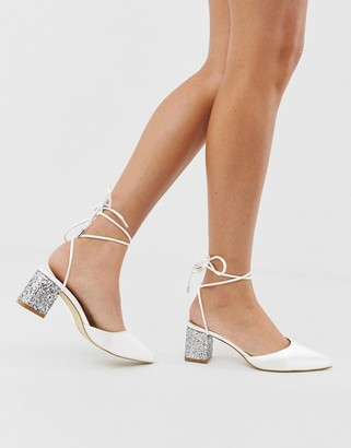 Be Mine Bridal Honor ivory satin glitter mid heeled shoes
