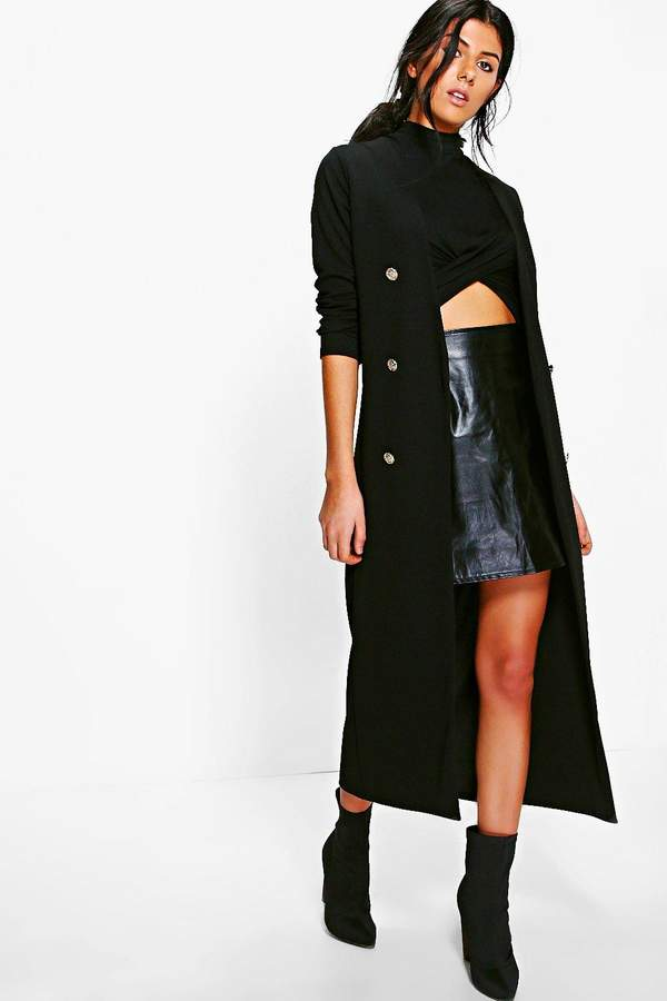 boohoo Eva Button Front Longline Duster Jacket