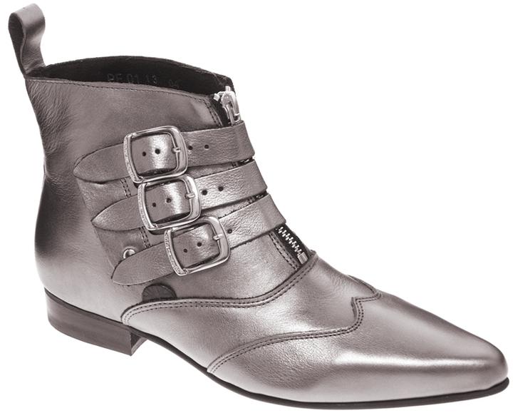 Underground Blitz Pewter Winklepicker Ankle Boots
