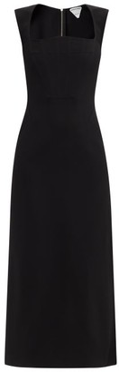 Bottega Veneta Square-neck Crepe Longline Dress - Black