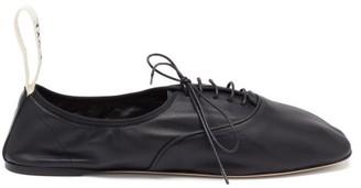 Loewe Logo-trim Laced Ballet Flats - Black