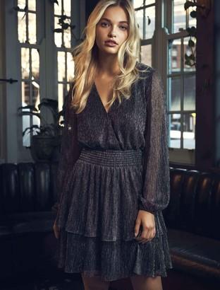 Forever New Katie Metallic Plisse Wrap Mini Dress - Black/Metallic - 6