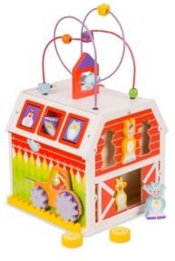 "Melissa & Doug Melissa Doug First Play Slide, Sort Roll Wooden Activity Barn with Bead Maze, 6 Wooden Play Pieces 11.75"" x 11.75"" x 20"" Assembled"